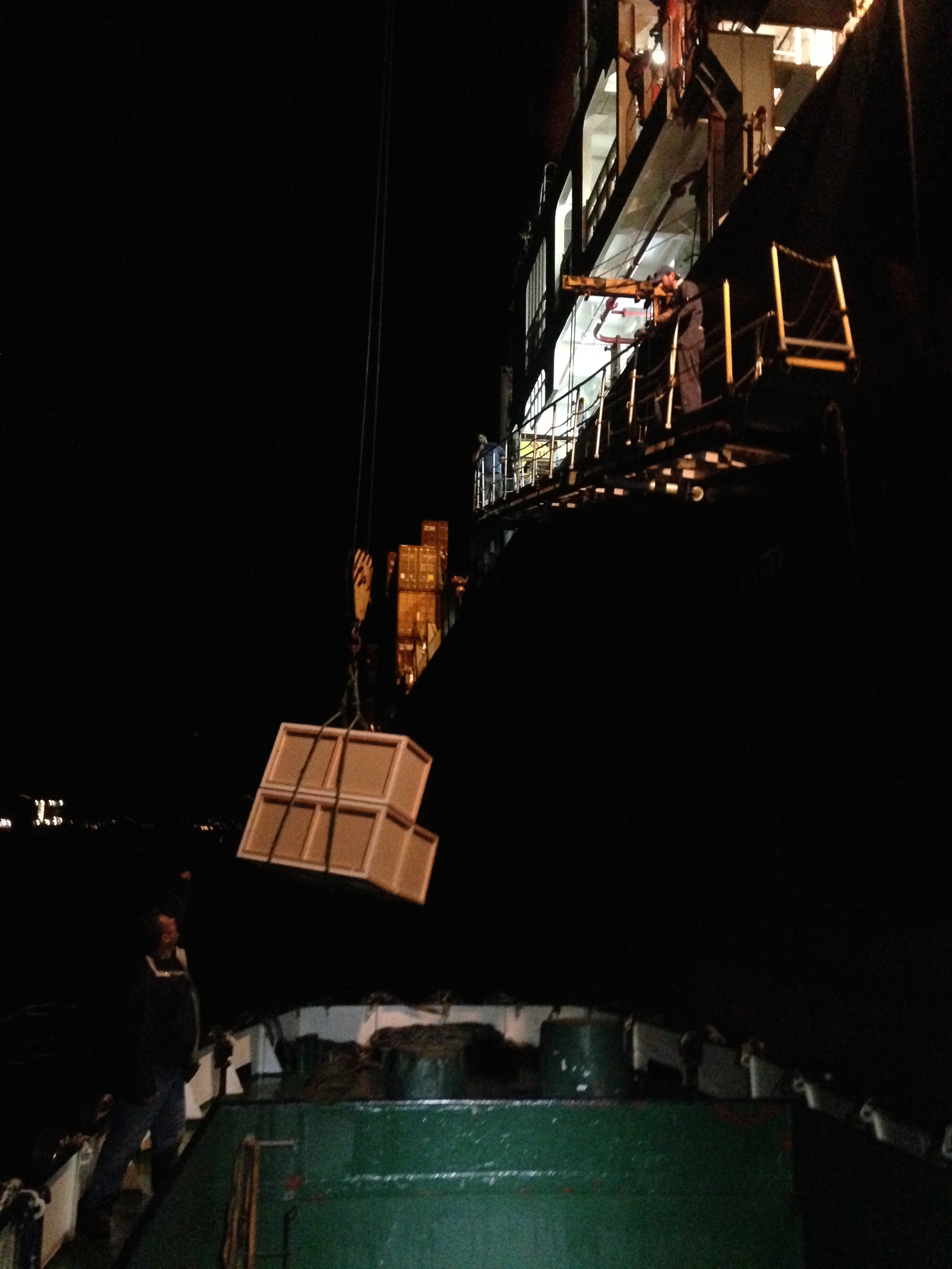 Page's crates sculpture boarding the container ship at night Photo: Maayan Strauss