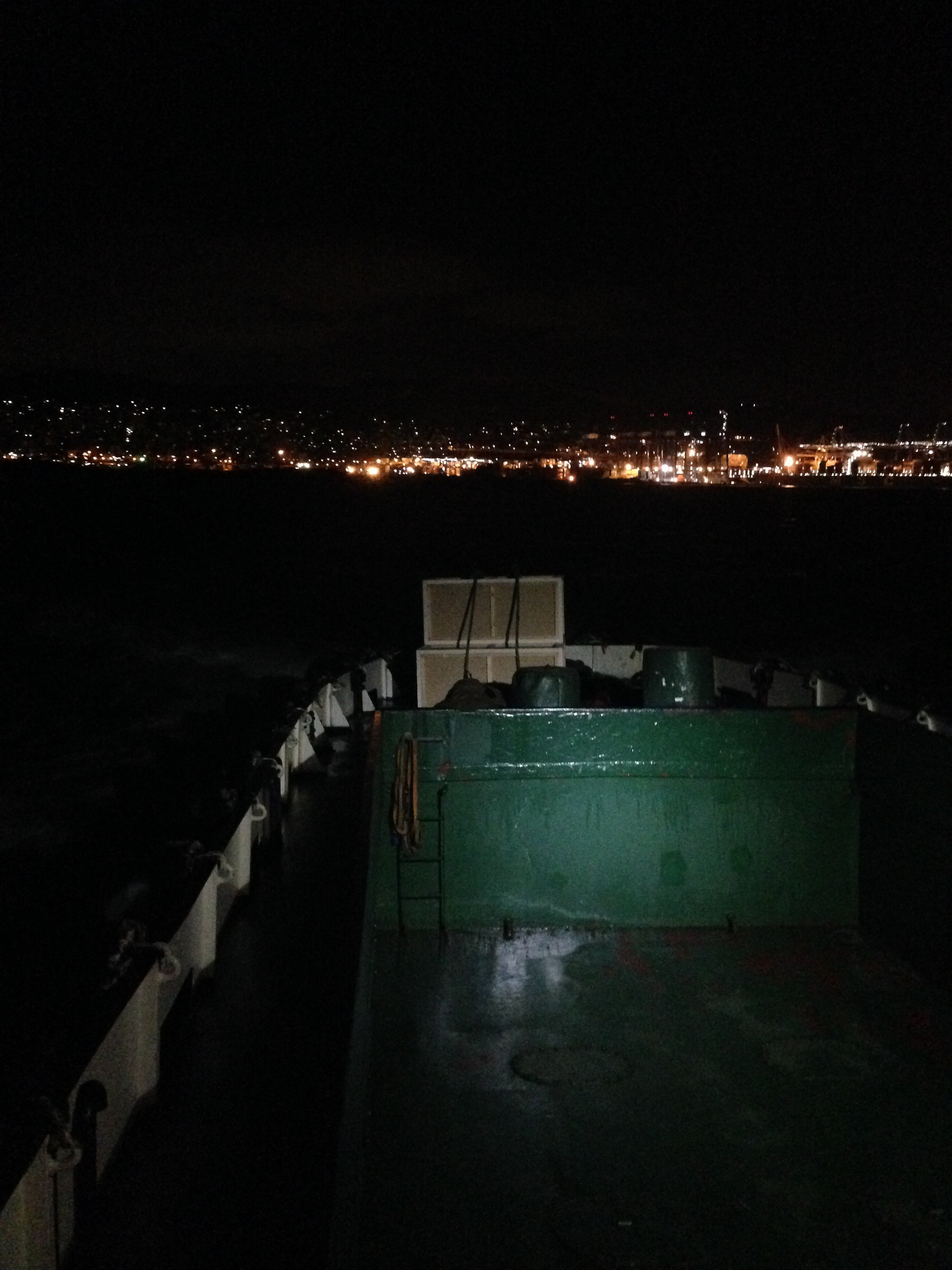 Page's crate sculpture on a fishing boat in Piraeus Photo: Maayan Strauss