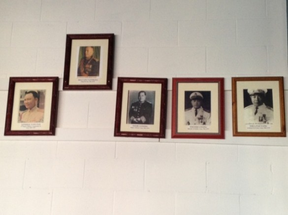 Ancestor wall above the desk.